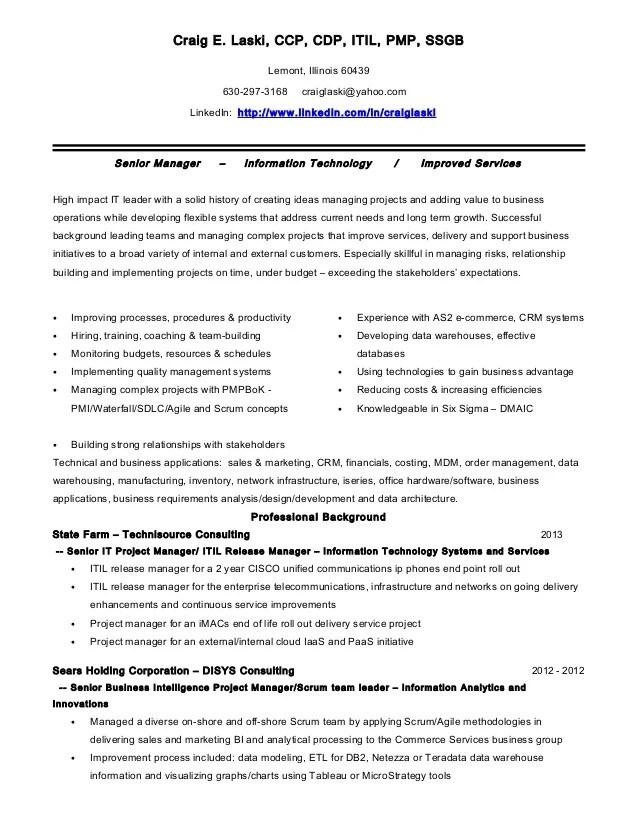 Craig E Laski ITIL PMP SSGB Resume