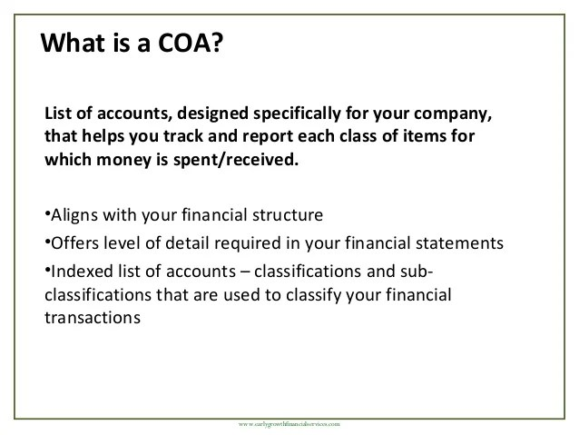 What is  coa also creating chart of accounts rh slideshare