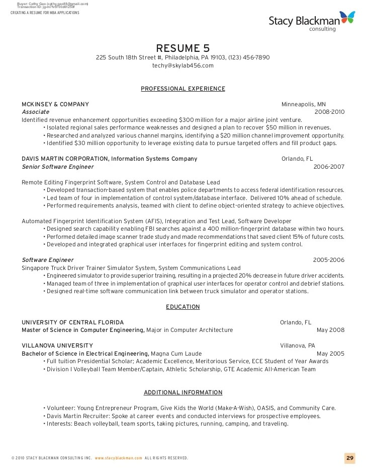 mba admission resume samples