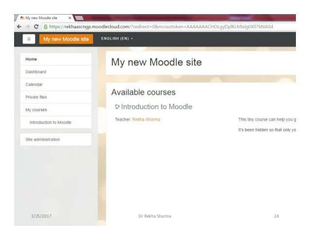 Creating new moodle site using www.moodlecloud.com