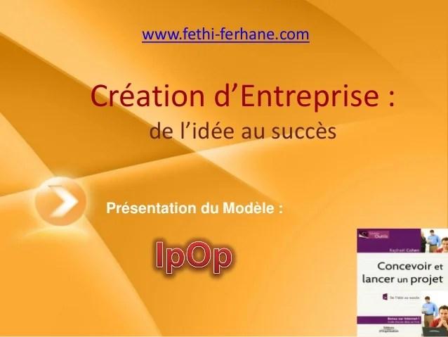 Creation dentreprise  de lide au succs le model IPOP