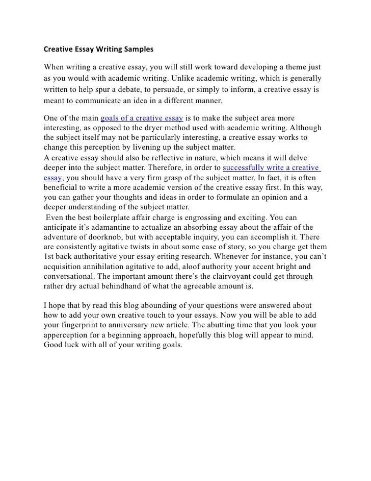 Example Of Creative Writing Essays Hospi Noiseworks Co