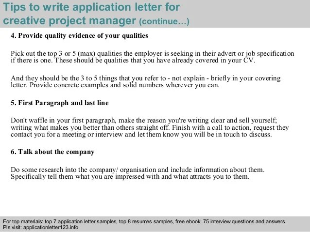 Cover Letter Of Project Manager