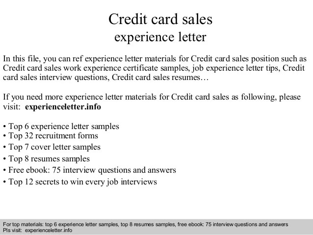 Credit Card Sales Experience Letter