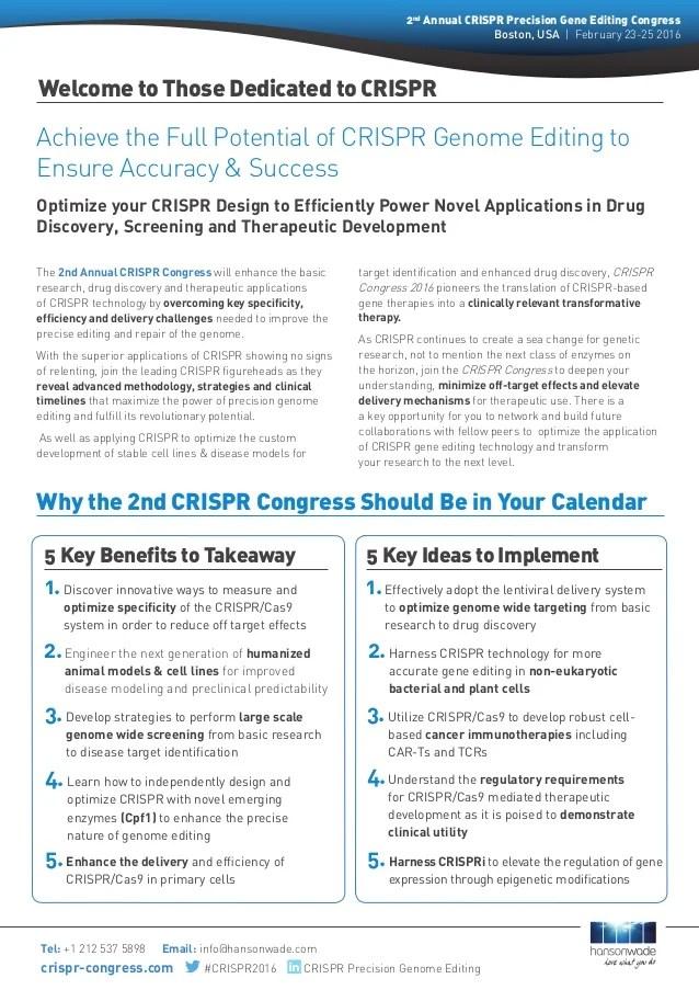 2nd CRISPR Congress Boston 2325 February 2016