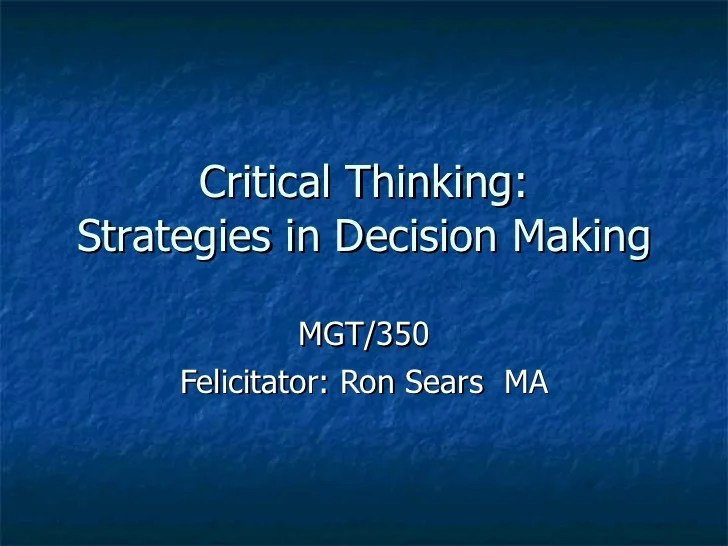 Critical Thinking Ppt Week 1