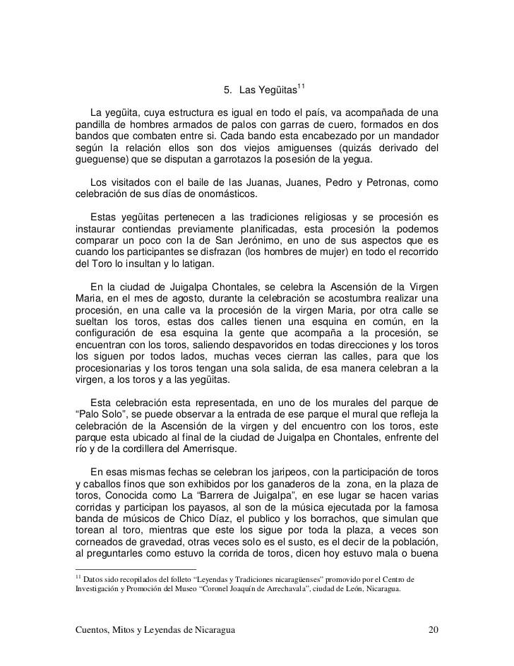 Cuentos Mitos Y Leyendas De Nicaragua