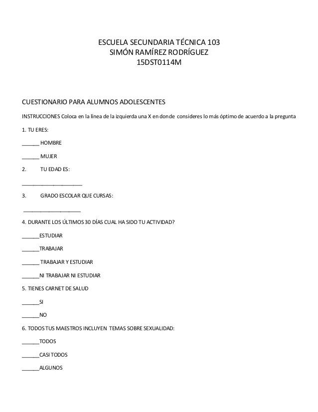 Cuestionario Para Alumnos (1