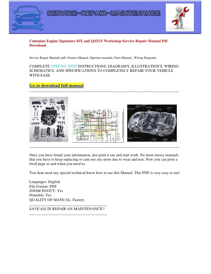 Cummins isx service manual pdf download