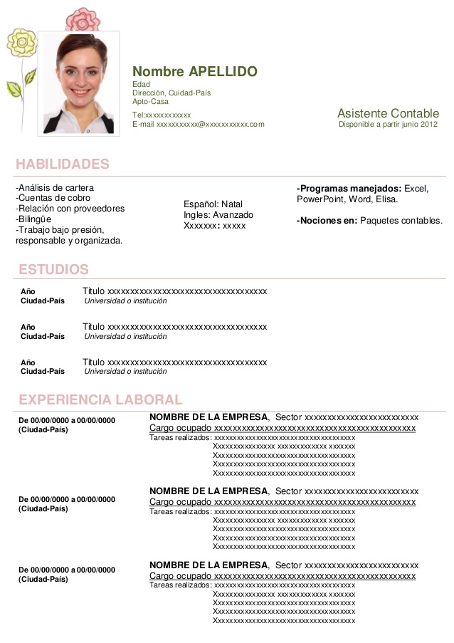 Ejemplos De Curriculum Vitae Formato Word Gratis Sample Resume Service