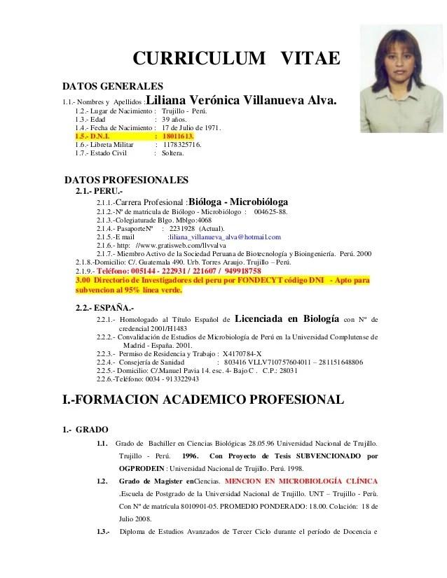 Ejemplos De Curriculum Vitae Actualizado 2013 Sample Resume Service