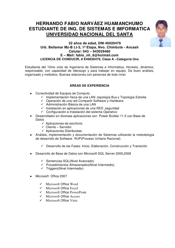 Modelo De Curriculum Vitae Chile Simple Sample Resume Service