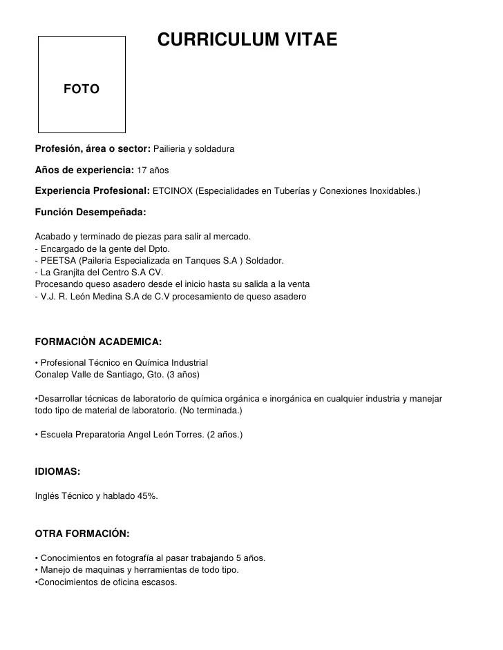 Curriculum Vitae Ejemplo Bien Hecho Cool Resume Format Template