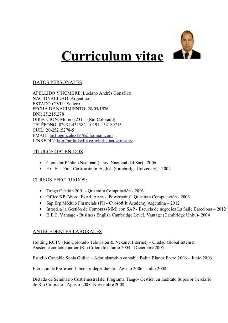 Curriculum Vitae Modelo Argentina Sample Resume For Kindergarten
