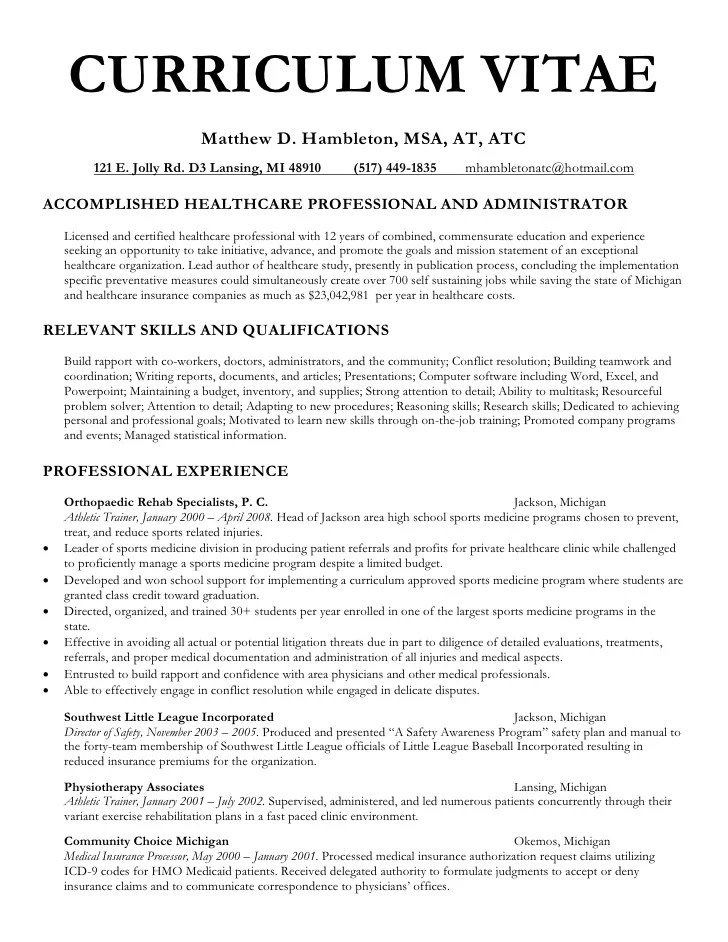 Resume Writing For Medical School Applicants  Sample Physician Assistant Resume