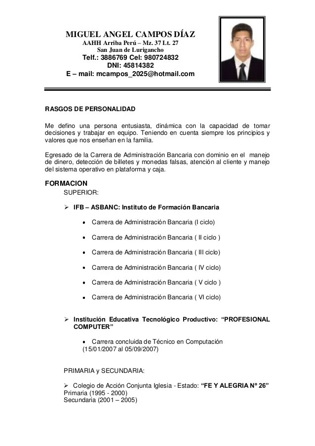 Curriculum Vitae Modelo De Peru Character Reference Letter Example