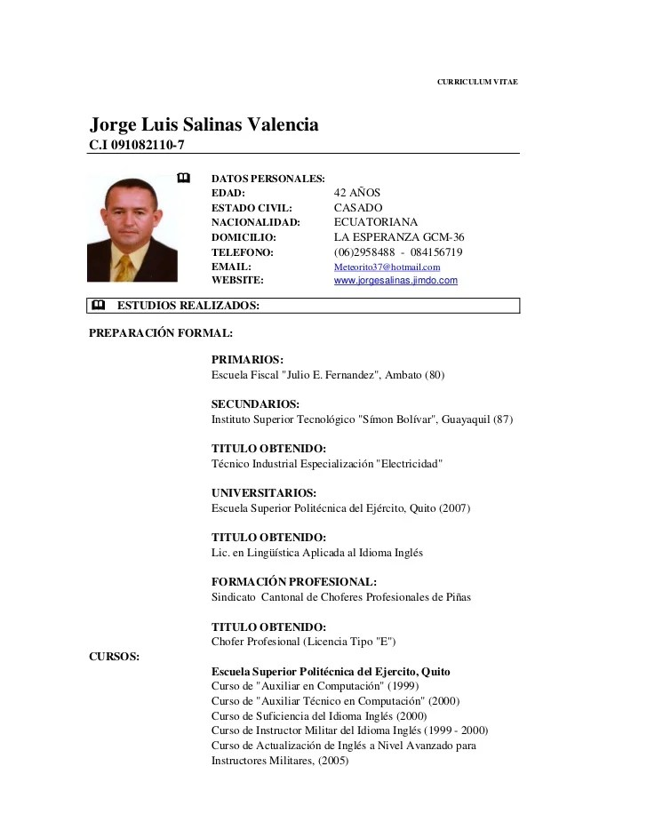 Modelo Curriculum Vitae Chofer Profesional Recommendation Letter