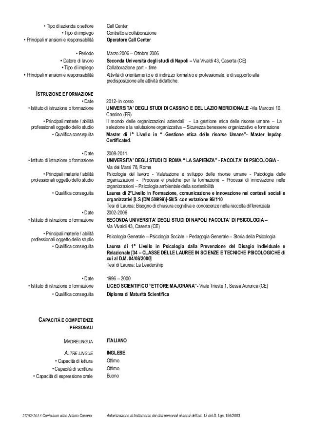 Curriculum Vitae Antimo Cusano