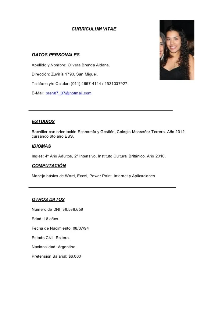Curriculum Vitae Modelo Argentina Sample Resume For Kindergarten