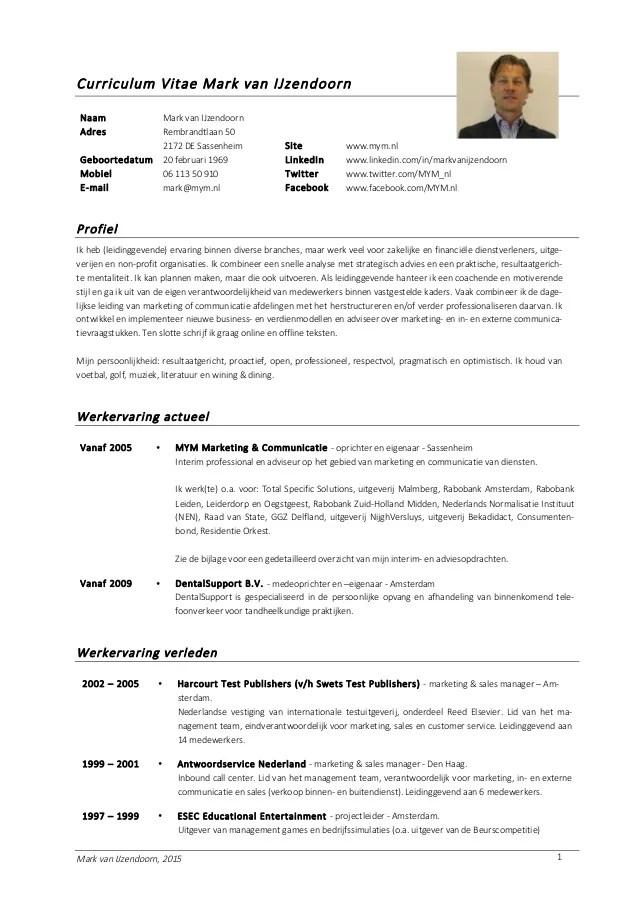 Curriculum Vitae Mark Van IJzendoorn 2015