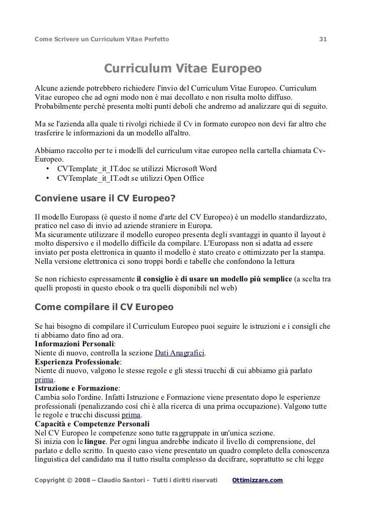 Cv Formato Europeo Per Il Curriculum Vitae Resume Builder Kansas City