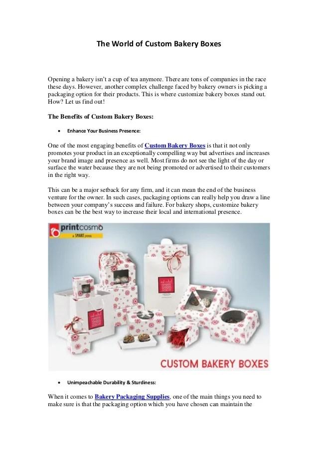 Custom Printed Bakery Boxes Packaging Wholesale Supplies