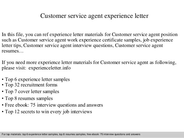Customer Service Agent Experience Letter