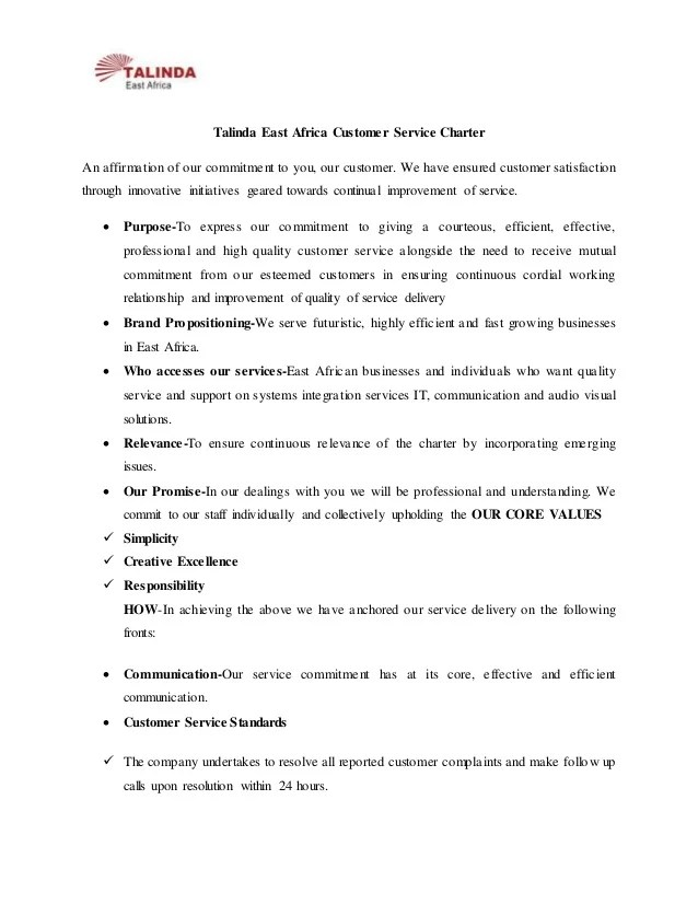 Talinda east africa customer service charter an affirmation of our commitment to you also rh slideshare
