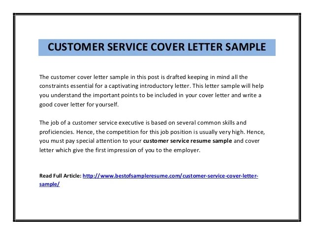 customer service cover letter sample pdf - Resume Cover Letter For Customer Service