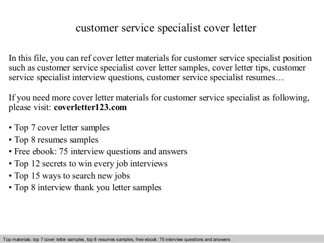 cover letter for customer service specialist