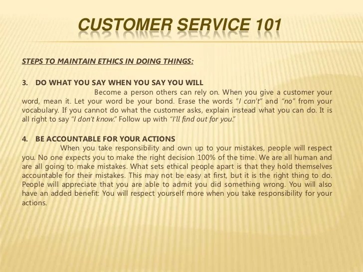 in your own words please define exceptional customer service