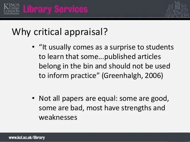 Quick Introduction To Critical Appraisal Of Quantitative Research