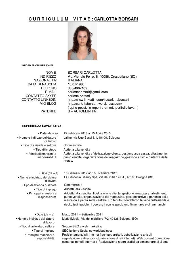 Curriculum Vitae Italiano Pdf Download