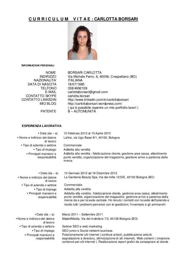 Curriculum Vitae In Inglese British Council