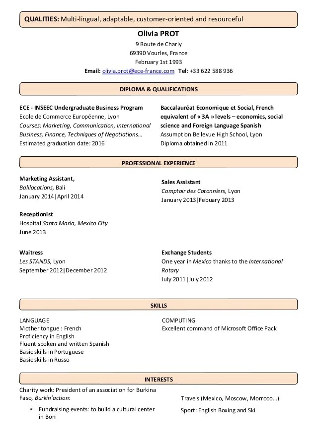qualities in english in a cv