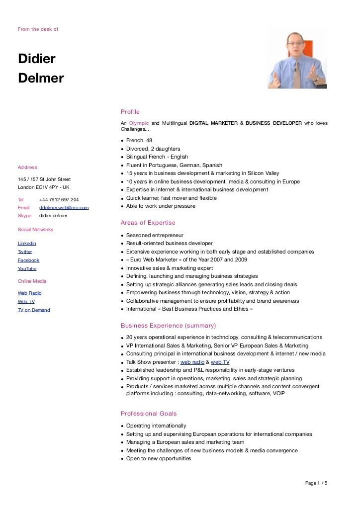 CV Didier Delmer Web Marketeur Serial Entrepreneur