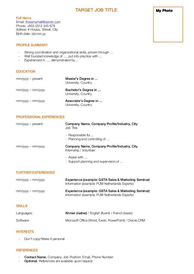 target jobs cv template