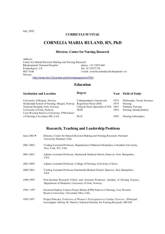 Cv Cornelia M Ruland