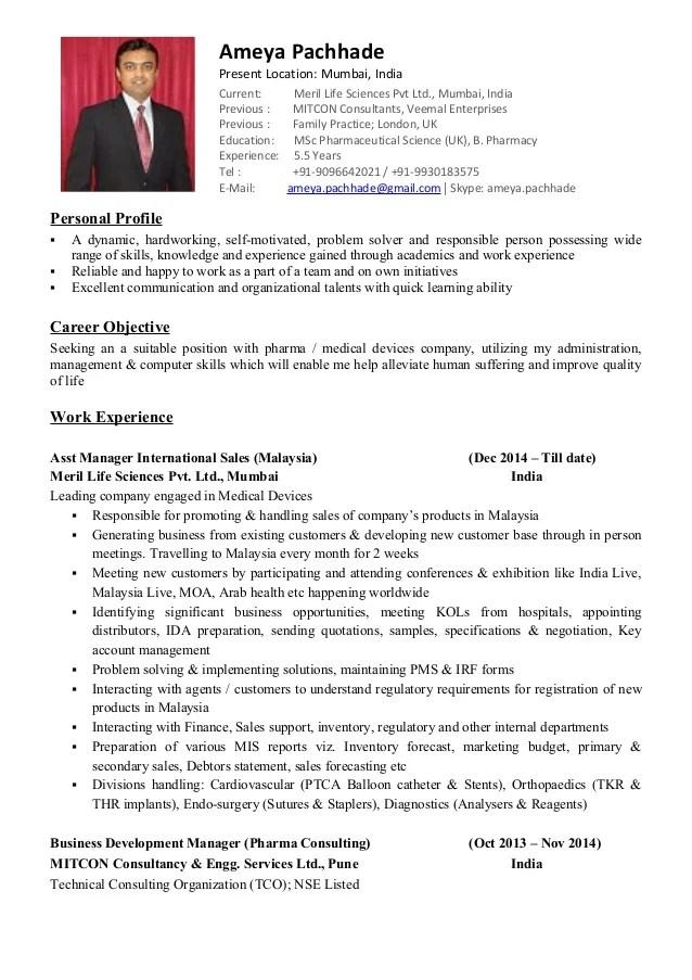 CV 5 5 Yrs Exp Pharma Professional Ameya Pachhade