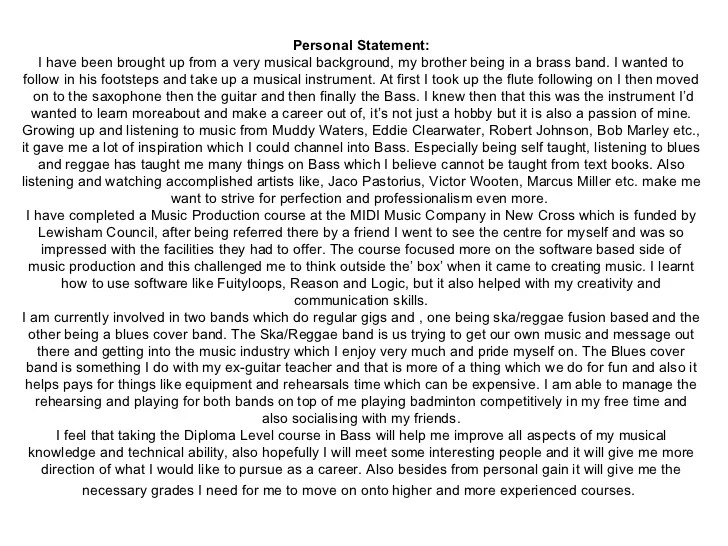 Personal Statement For Cv Template