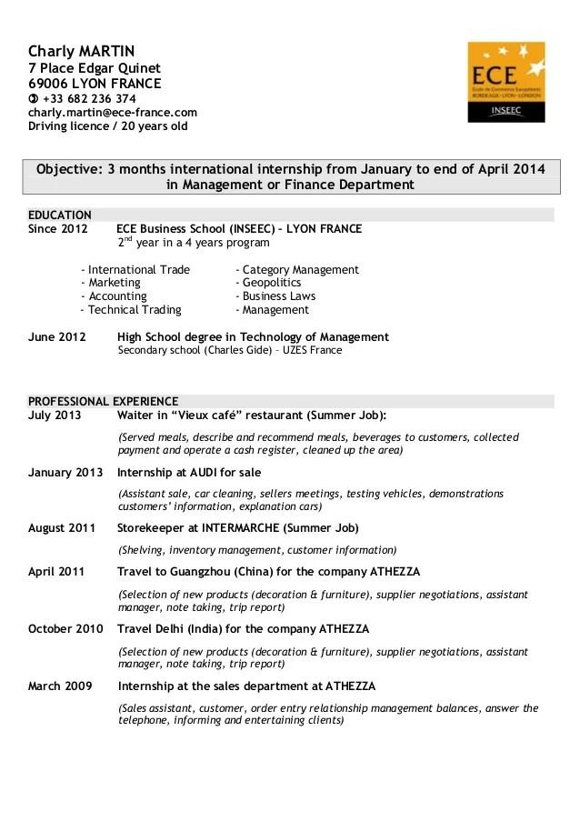 description licence anglais cv
