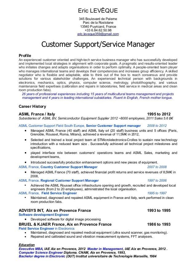 Customer Service Manager Profile Resume