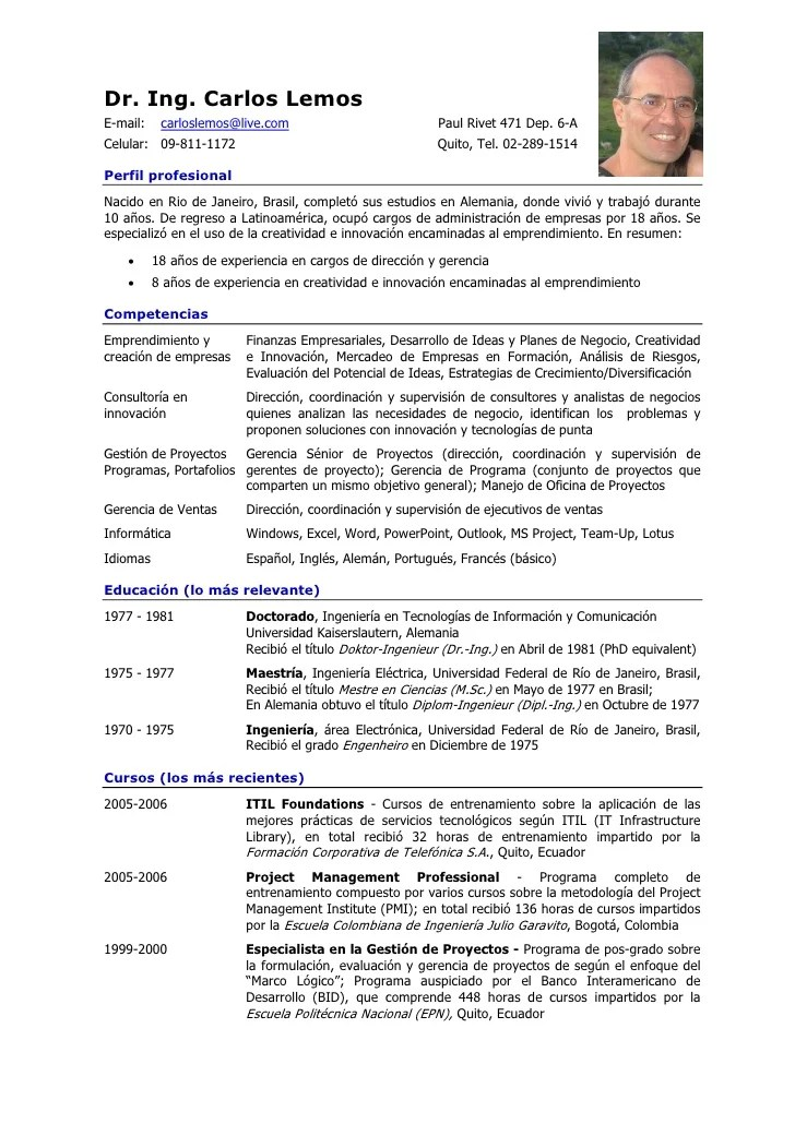 Ejemplo De Curriculum Vitae Sencillo | Job Application