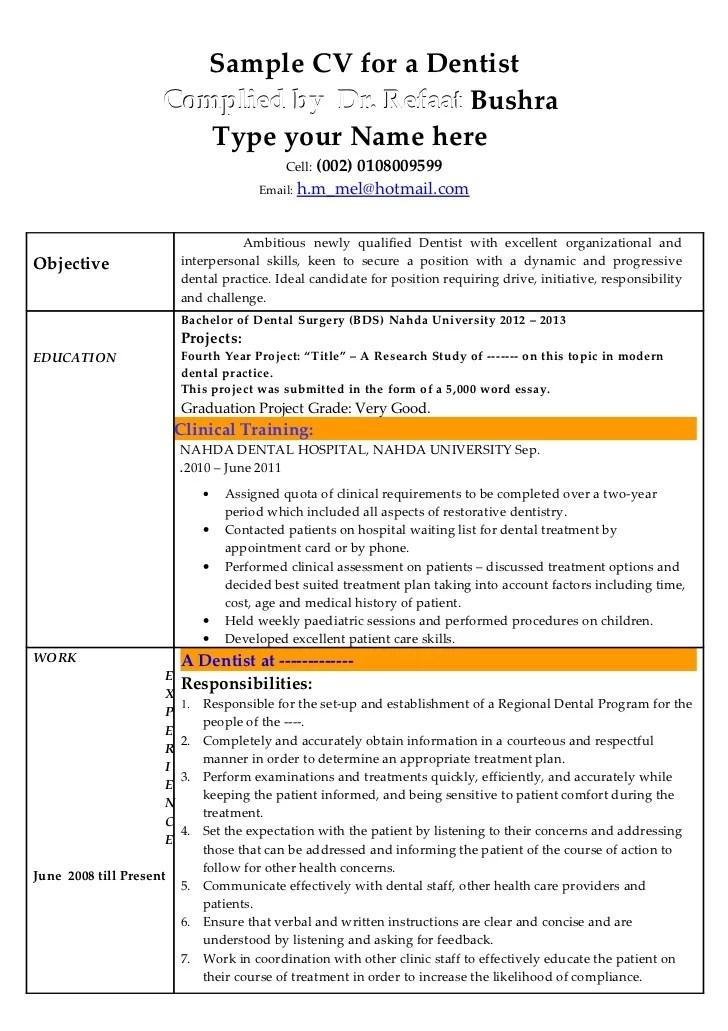Sample Dentist Resume Dentist Resume Samples Visualcv Resume