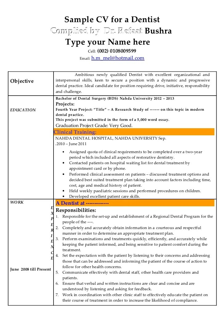 sample dentist resume objective