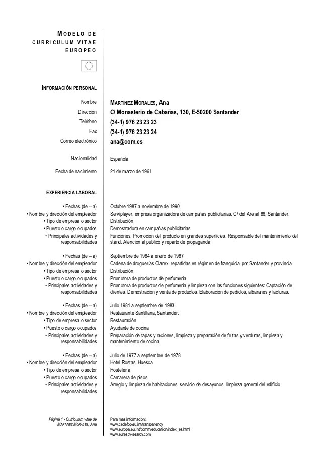 Modelo Europeo De Curriculum Vitae Word Resume Format For Network