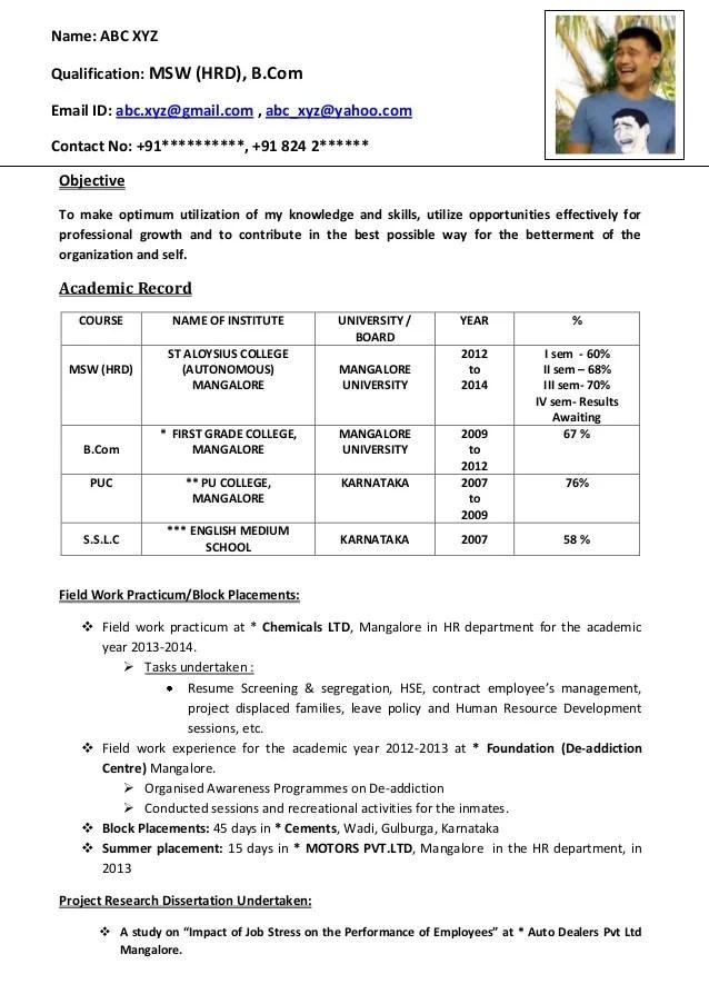 sample resume for assistant professor fresher