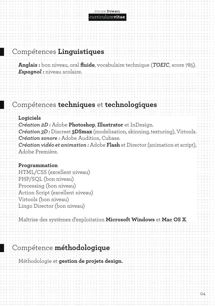 niveau competence logiciels cv