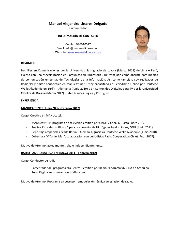 Modelos De Curriculum Vitae Peru Word 2014 Resume Samples Journalism