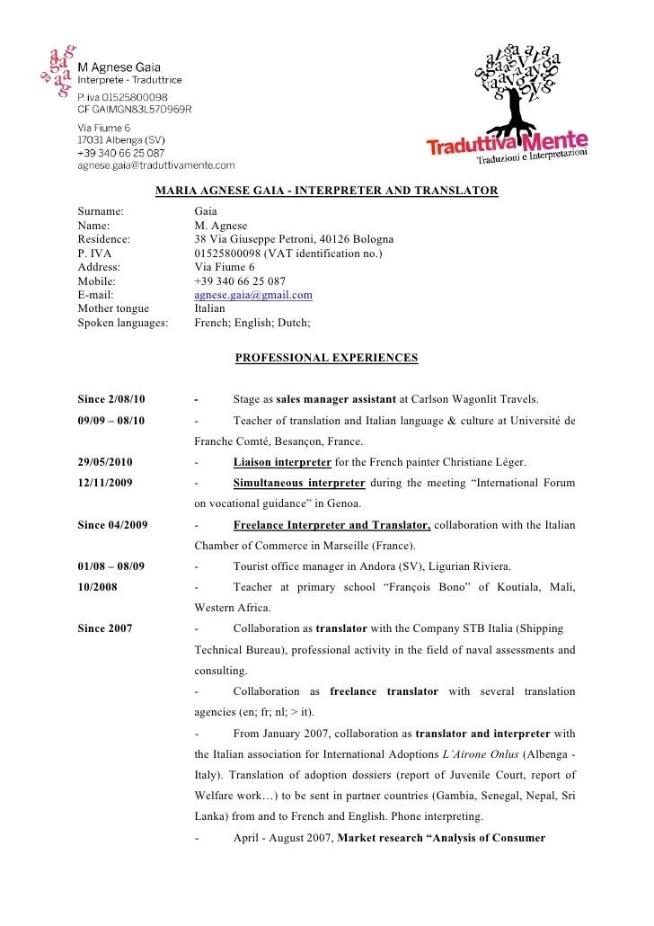 cv in english example doc
